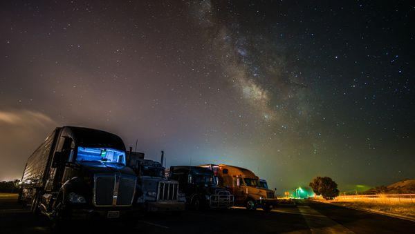 Milky way over the trucks thumbnail