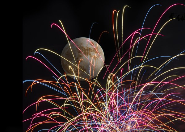 fireworks and full moon from my front yard thumbnail