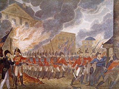 An illustration of the British burning Washington in 1814