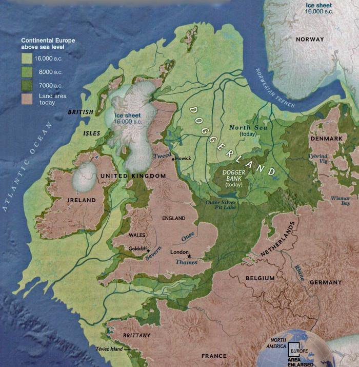 The modern map of Britain, a separate island from mainland Europe, with green shading to show a land mass that used to connect the two 16,000, 8,000 and 7,000 years ago
