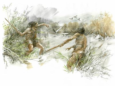 An artist's rendering of two early hominins hunting waterfowl on the Schöningen lakeshore with throwing sticks