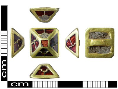 The gold and garnet pyramid mount found in Norfolk, England