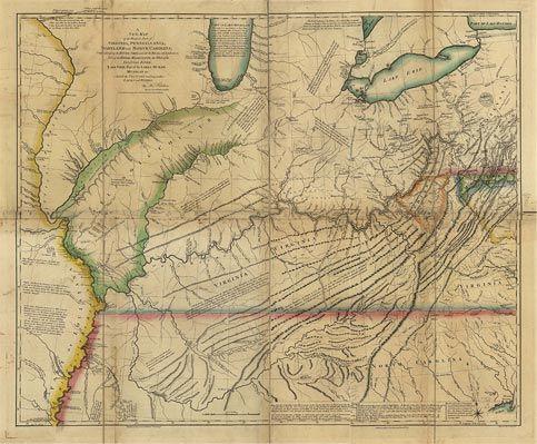 Map of the western parts of Virginia Pennsylvania and North Carolina