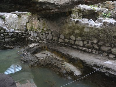 The remains of a pre-Hispanic temazcal recently found in Mexico City