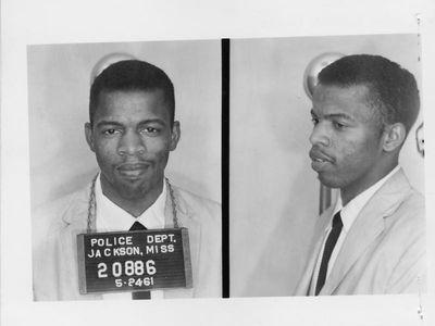 John Lewis' mugshot, taken after his arrest in Jackson, Mississippi, as a Freedom Rider