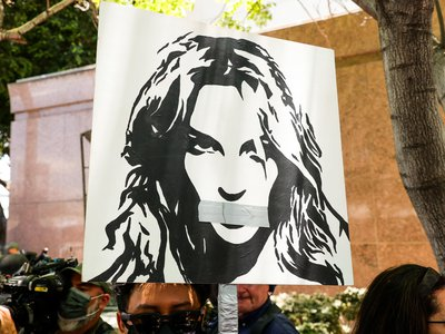 #FreeBritney activists protest at Los Angeles Grand Park during a conservatorship hearing for Britney Spears on June 23, 2021 in Los Angeles.