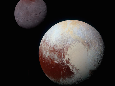 Pluto, and its largest moon Charon, as seen from the New Horizons spacecraft.