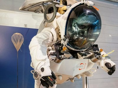 The suit Alan Eustace wore during his record-breaking freefall jump in October 2014 is on view at the Smithsonian's Udvar-Hazy Center in Chantilly, Virginia.
