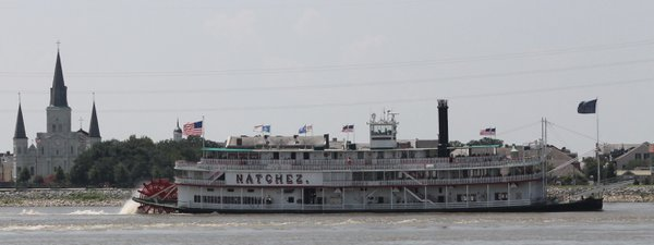 The Paddlewheeler Natchez with St. Louis Cathedral thumbnail