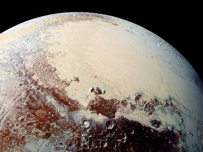 This creamy expanse is Sputnik Planum, the western lobe of the heart-shaped feature on Pluto.