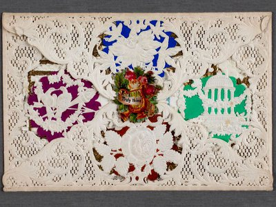 Esther Howland popularized and mass-produced Valentine's Day cards like this one, using lace and colorful paper.
