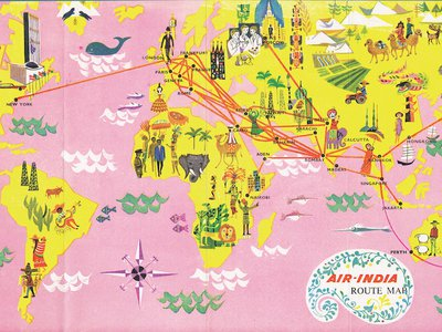 Flight map of Air India destinations from 1962.