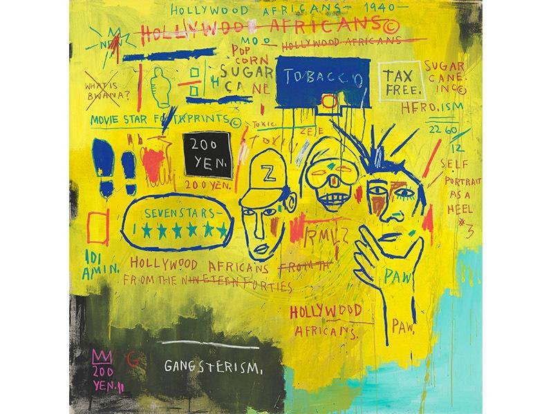 A large splash of yellow dominates the canvas, with handwritten phrases and drawings including three faces, the words HOLLYWOOD AFRICANS FROM THE [crossed-out] NINETEEN FORTIES, SUGAR CANE, TOBACCO, TAX FREE and other references