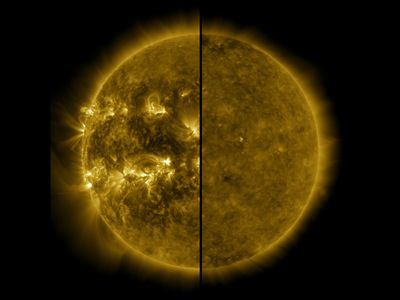 A split image showing an active Sun during solar maximum (on the left, taken in 2014) and a quiet Sun during solar minimum (on the right, taken in 2019).