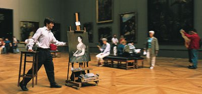 American Will Thompson (with his take on Goya's Young Woman with a Fan) has been copying at the Louvre since 1994.