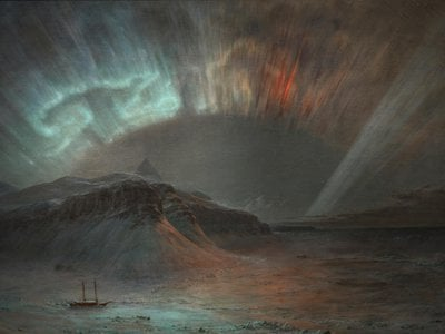 One witness to an 1859 Northern Lights display was the artist Frederic Edwin Church, who later painted Aurora Borealis (above, detail).