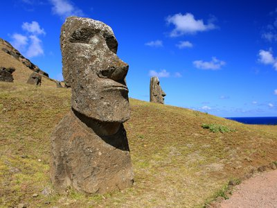 The moai at Easter island, built by the Rapa Nui people