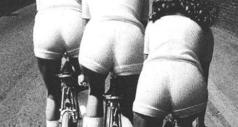 Biking while wearing stretchy knit hot pants, 1972