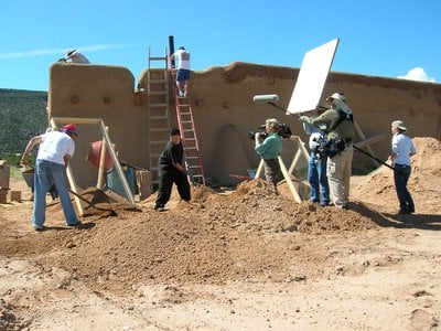 The Good Work film crew captures the annual re-plastering of the historic adobe morada in Abiquiu, New Mexico.