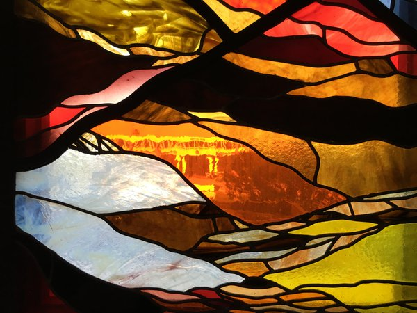 Millican Hall through stained glass thumbnail