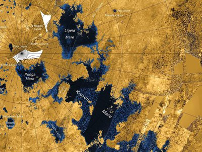 Titan's largest lake, Kraken Mare, is larger than the five Great Lakes combined.