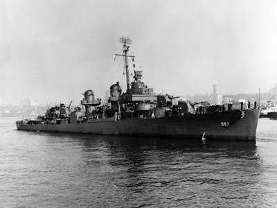"""During the dive mission, the divers found and captured footage of the ship's bridge, midsection, and bow that had hull number """"557"""" still visible on both sides."""