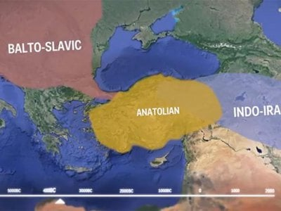 A screen shot from a video about how Indo-European languages spread around the globe.