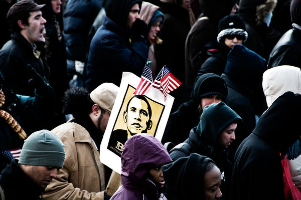 2009 Presidential Inauguration - Man with Barach Obama sign. thumbnail