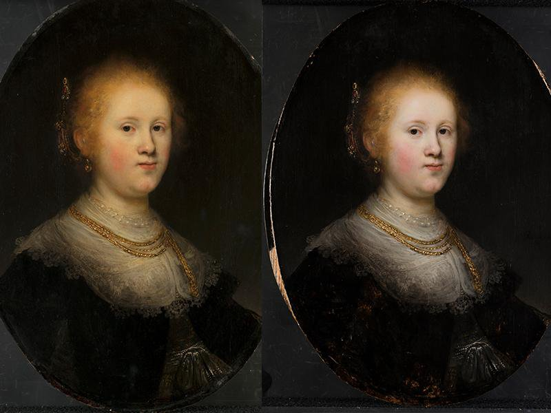 The Rembrandt painting before and after conservation
