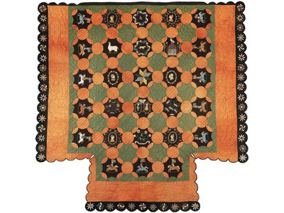 """The Paul Family Quilt (1830-35), on display in """"Fabric of a Nation: American Quilt Stories,"""" was made for a four-poster bed."""