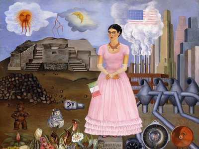 Self-Portrait on the Border Line Between Mexico and the United States, 1932, by Frida Kahlo (Colección Maria y Manuel Reyero, New York)