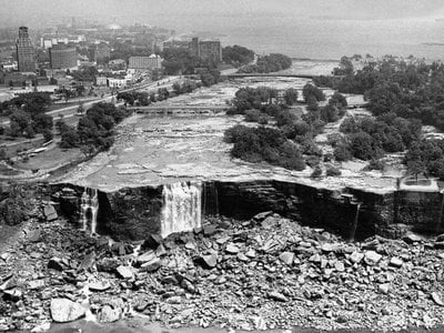 Until engineers constructed the temporary dam in 1969, no one had seen the bare rock face of American Falls since March 30, 1848, when an ice jam from Lake Erie stopped the Niagara River.