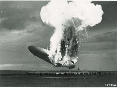 On May 6, 1937, the German airship Zeppelin LZ 129 Hindenburg burst into flames in Lakehurst, New Jersey, while the airship was landing.