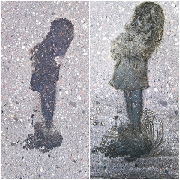 Girl with flowers on the asphalt thumbnail