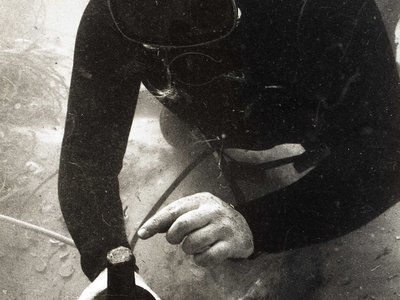 A diver brings up a sealed glass bottle from the shipwreck of the Sydney Cove
