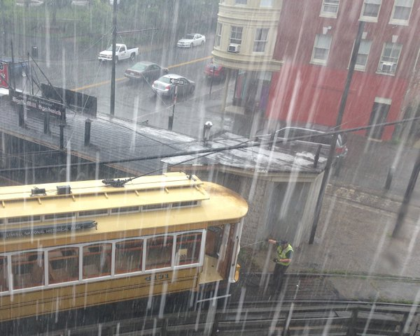 The trolley car during a summer downpour thumbnail