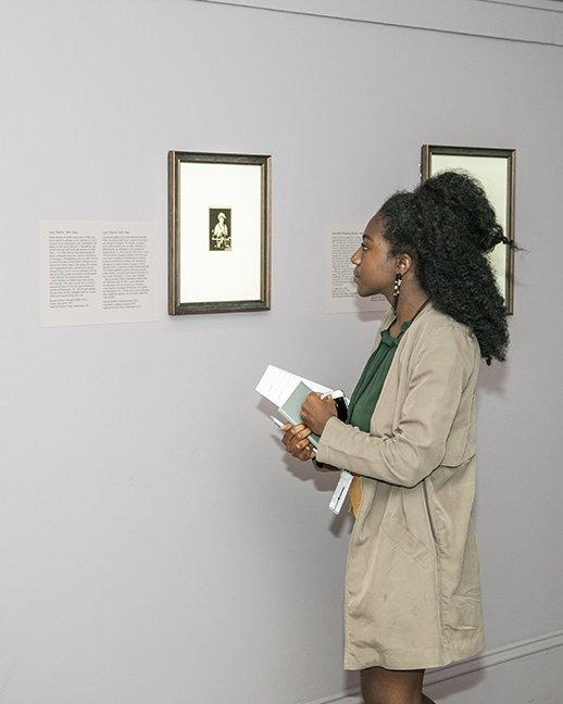 """Thirteen """"Because of Her Story"""" interns spent the summer uncovering stories of remarkable American women and learning museum practice. Pictured: Stella Hendricks, intern, National Portrait Gallery. (Michael Barnes)"""