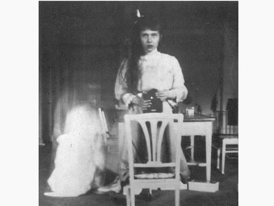 Grand Duchess Anastasia Nikolaevna shot her own mirror selfie in 1913. The picture,taken five years before she was killed, shows a young woman of 13 looking herself in the eye, stabilizing the camera on a chair in front of a mirror.