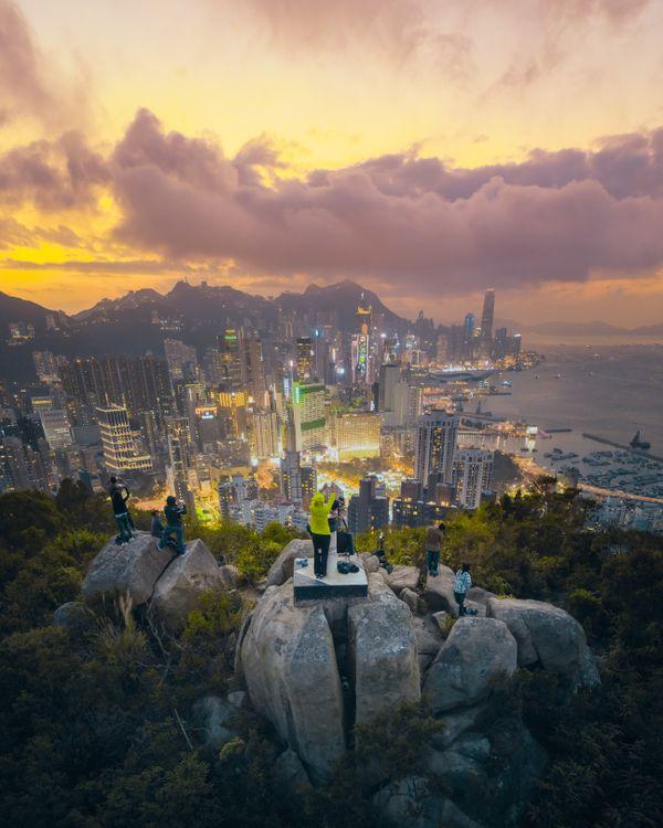Hong Kong skyline on sunset thumbnail