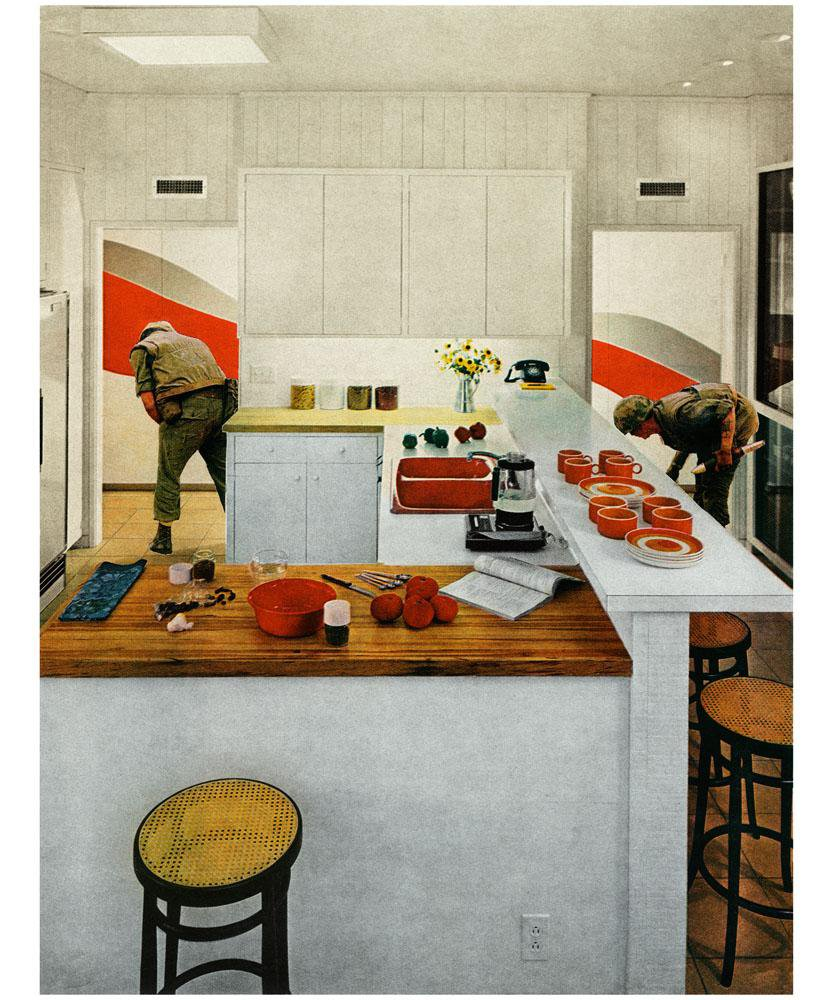 A painting of a kitchen with red utensils and two soldiers in the hallway.