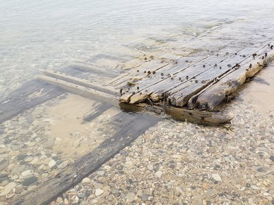 The wreckage of a mid-19th century ship washed ashore north of Ludington, Michigan, on April 24.