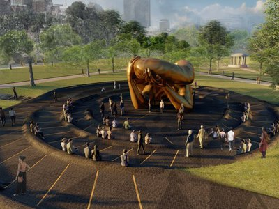 A rendering of by Hank Willis Thomas' The Embrace, a public memorial set to be unveiled in the Boston Commons in October 2022