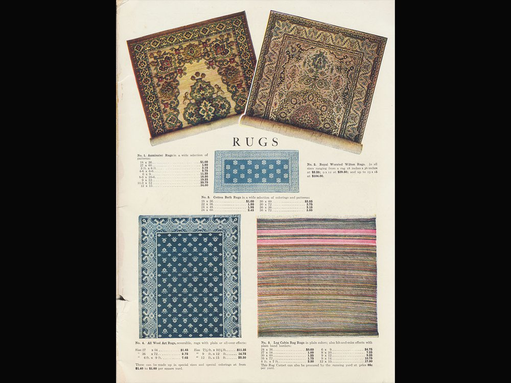 John Wanamaker, New York, NY. Spring & Summer Catalog (1915), inside back cover, Rugs.