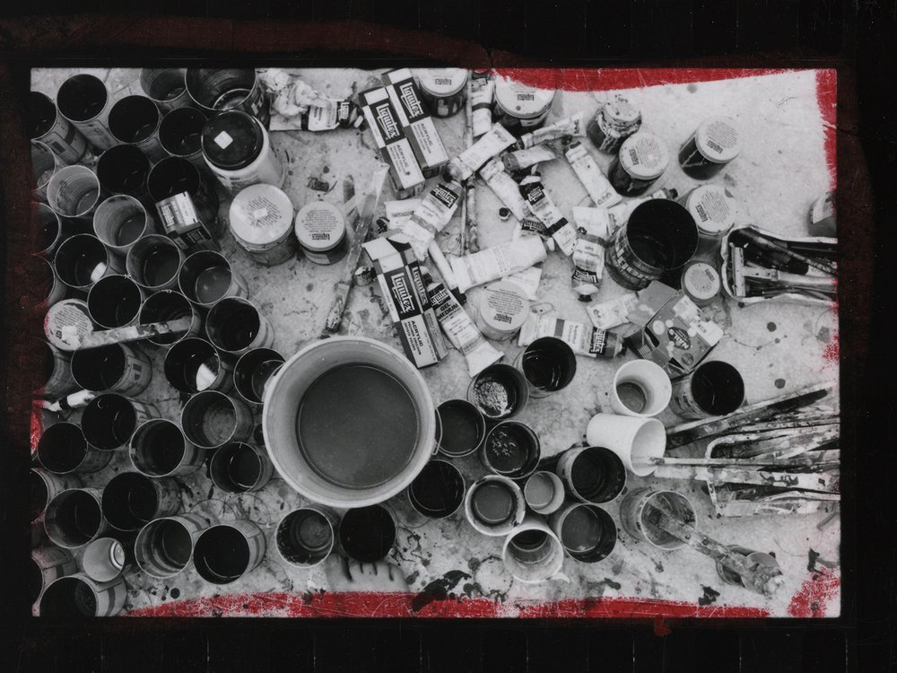 Gene Davis' studio, summer 1971, detail from contact sheet with images of Andrew Hudson, Bill Christenberry, and Gene Davis, 1979 / Mary Swift, photographer. Mary Swift papers, circa 1970-2005. Archives of American Art, Smithsonian Institution.