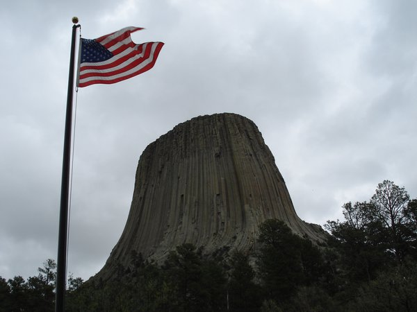 Storm wipped Flag at Devil's Tower thumbnail