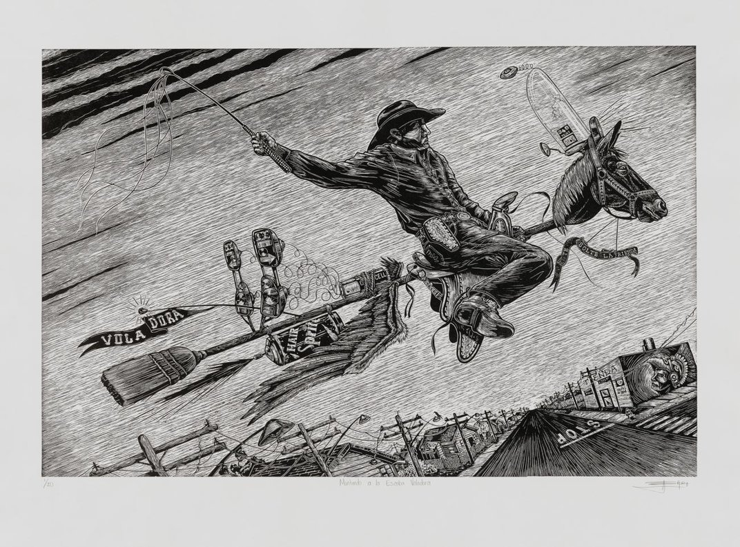 Black and white etching of cowboy on a broomstick with a horses head.