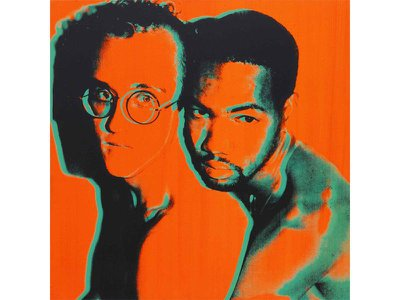 This Andy Warhol print of Haring (left) and his lover Juan DuBose is expected to fetch around $250,000.