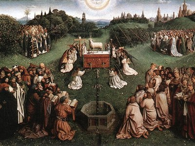 The Ghent Altarpiece's Adoration of the Lamb panel