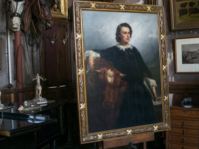 Édouard Dubufe's portrait of Bonheur, embellished with a bull that Bonheur herself added, is on view in Bonheur's meticulously preserved studio.