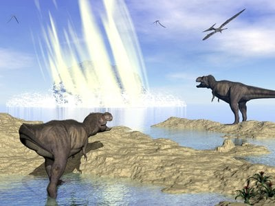 An artist's rendering of Chicxulub, the asteroid believed to have wiped out large dinosaurs and reshaped parts of the world.